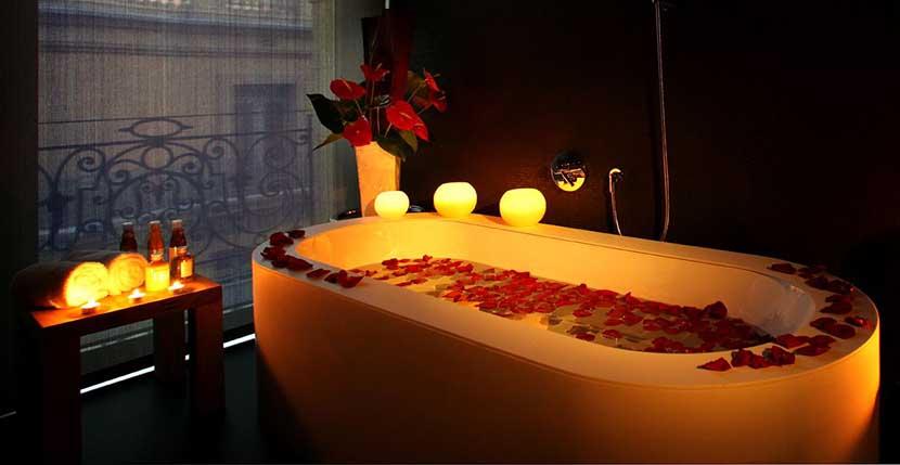 baño rosas