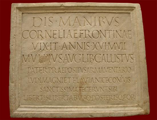 Festivales romanos de la muerte - Lápida Romana